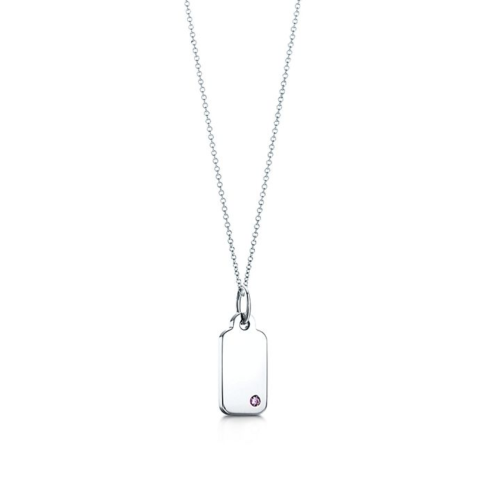 7506862a0 Tiffany Charms rectangle tag in 18k white gold with an amethyst ...