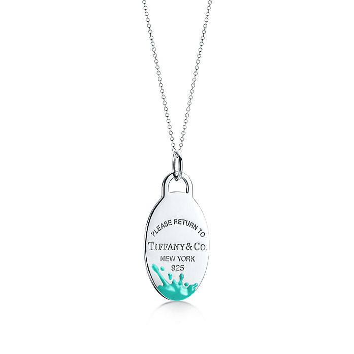 cd7408f02 Return to Tiffany® Color Splash tag charm in sterling silver, large ...