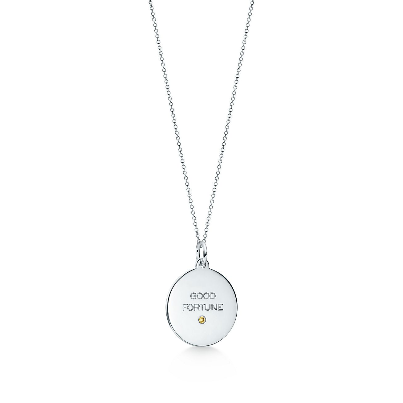 Tiffany Charms Good Fortune tag in silver with a diamond, medium Tiffany & Co.