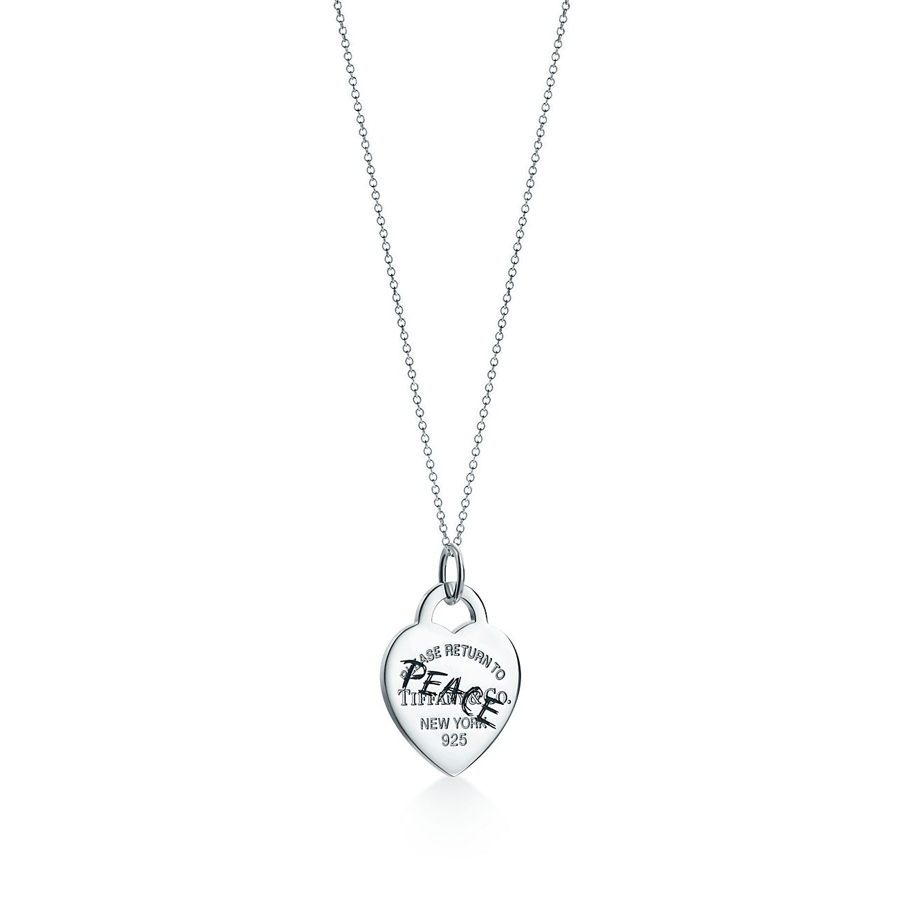 Return to Tiffany Etched heart and arrow tag charm in sterling silver, large - Size Heart and Arrow Tiffany & Co.