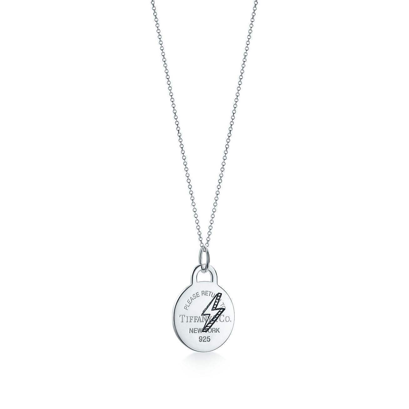 Return to Tiffany Etched lightning bolt pendant in silver with diamonds Tiffany & Co.