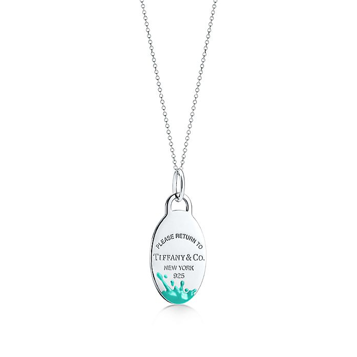 6bcd3d7e64 Return to Tiffany® Color Splash oval tag charm in sterling silver ...