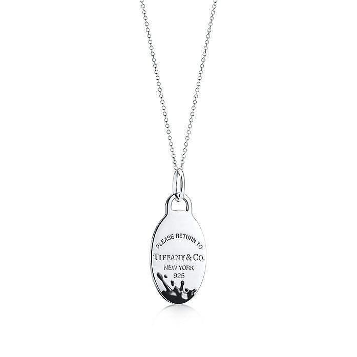 a666bb9e5 Return to Tiffany™ Color Splash oval tag charm in sterling silver ...
