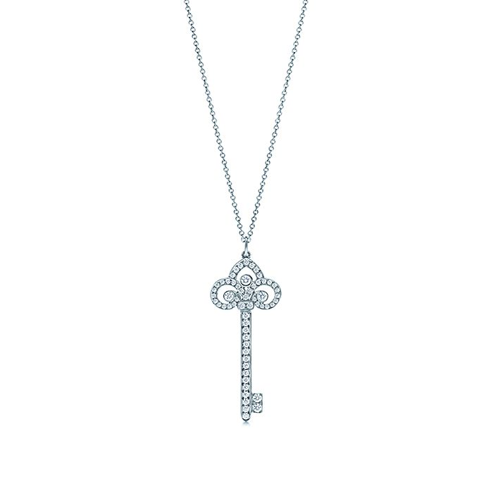 f54f9c303 Tiffany Keys fleur de lis key pendant with diamonds in platinum on a ...
