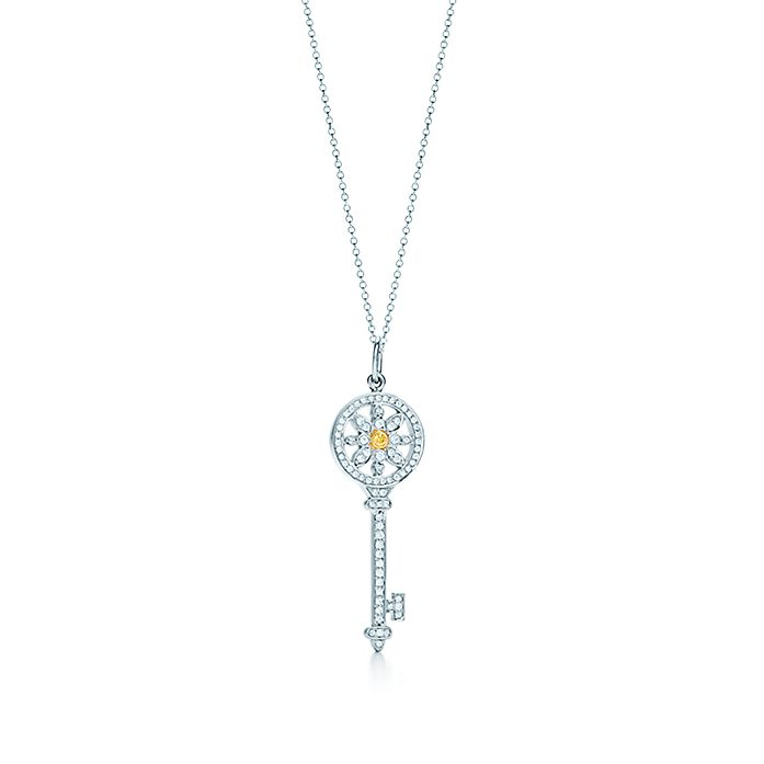 2ff112f03 Tiffany Keys daisy key in platinum and 18k gold with yellow and ...