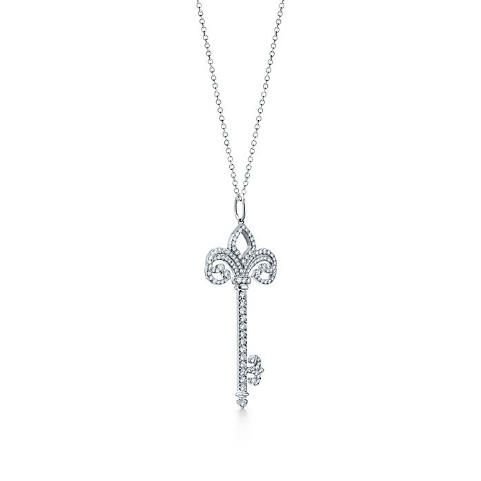 8be7351a9 Tiffany Keys fleur de lis key pendant in platinum with diamonds ...