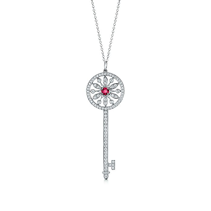 9c2a05617 Tiffany Keys round star key pendant in platinum with diamonds and ...