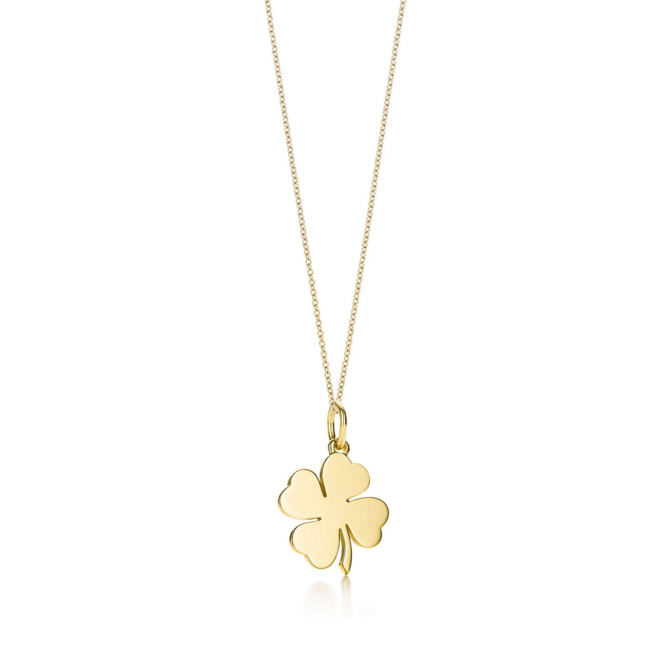 Four leaf clover charm in 18k gold on a chain tiffany co four leaf clover charm and chain mozeypictures Image collections