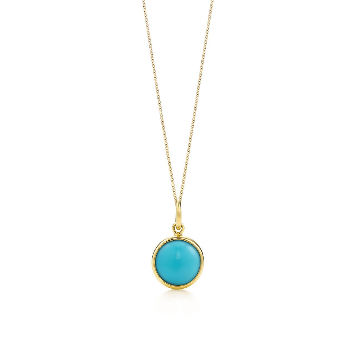 Paloma picasso turquoise dot charm in 18k gold on a chain paloma picassoturquoise dot charm and chain audiocablefo