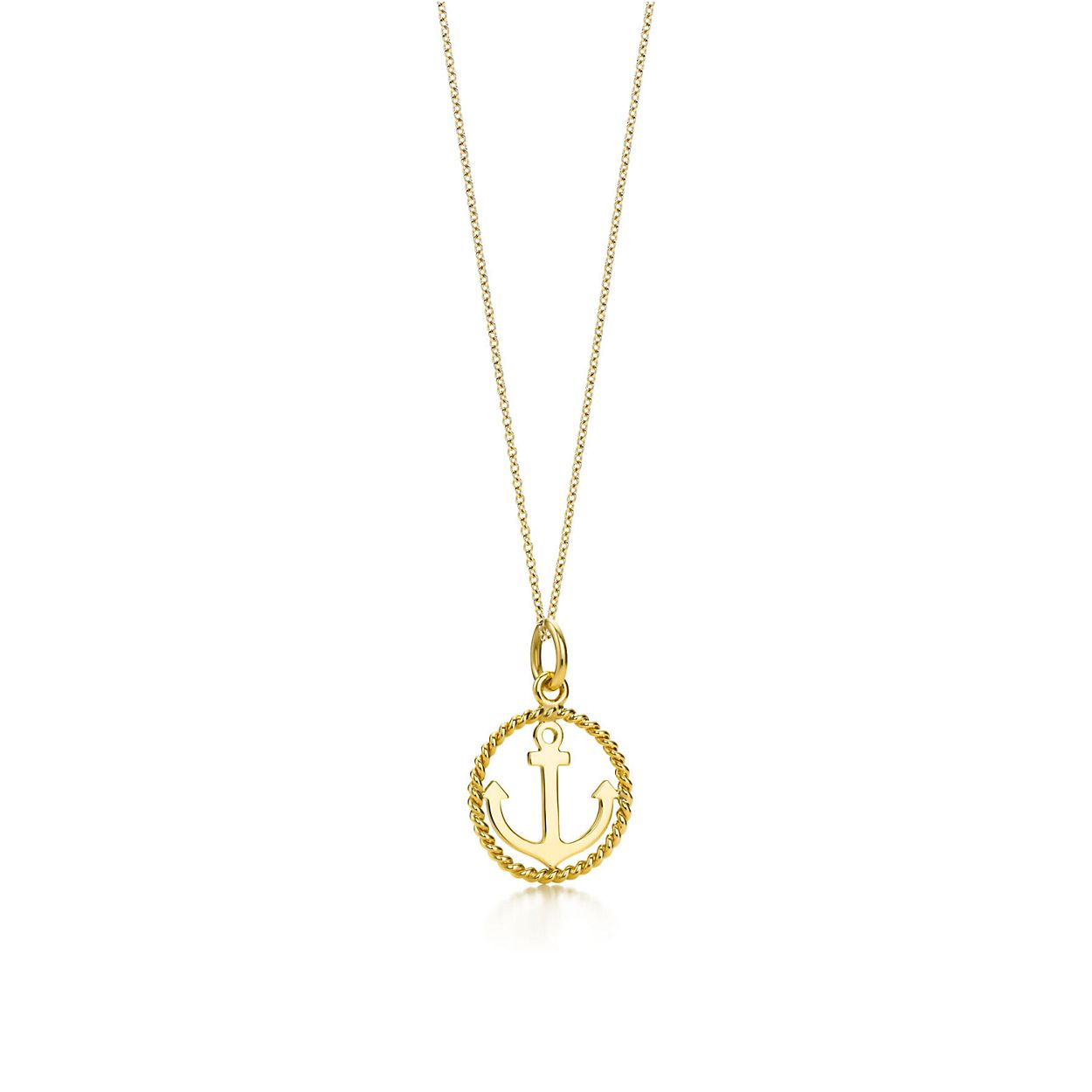 Tiffany twist anchor charm in 18k gold on a chain small tiffany tiffany twistanchor charm and chain aloadofball