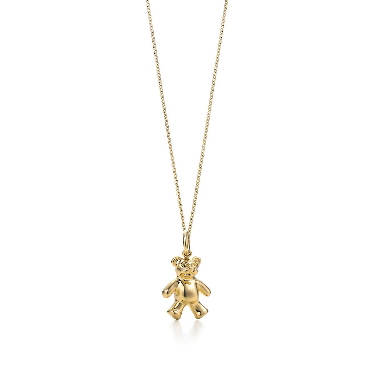 Teddy bear charm in 18k gold on a chain tiffany co teddy bear charm and chain aloadofball Images