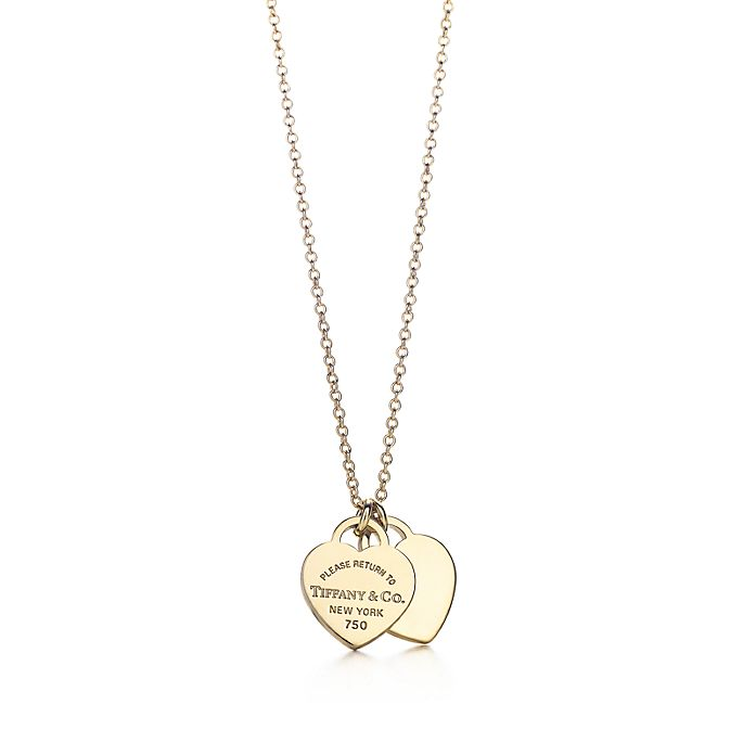8241954f6 Return to Tiffany™ mini double heart tag pendant in 18k gold ...