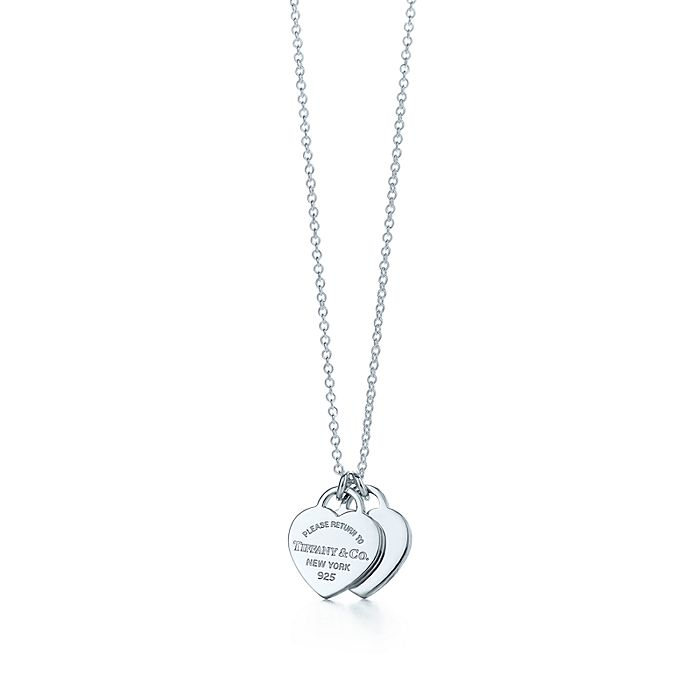 ce72816f1 Return to Tiffany™ mini double heart tag pendant in sterling silver ...