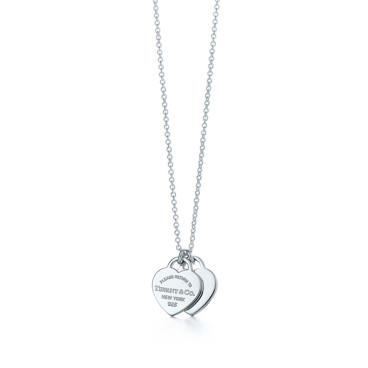 Return To Tiffany Mini Double Heart Tag Br Pendant