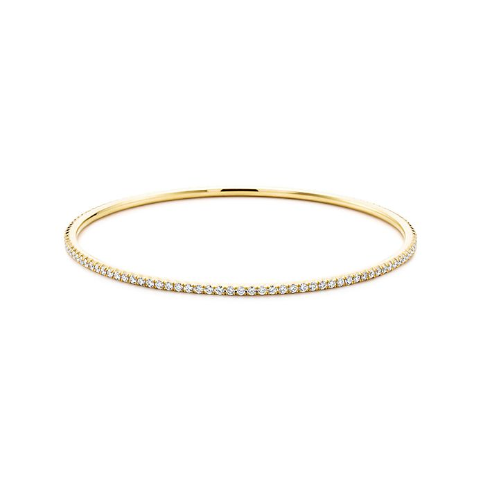 3c3752892 Tiffany Metro bangle in 18k gold with diamonds, medium. | Tiffany & Co.