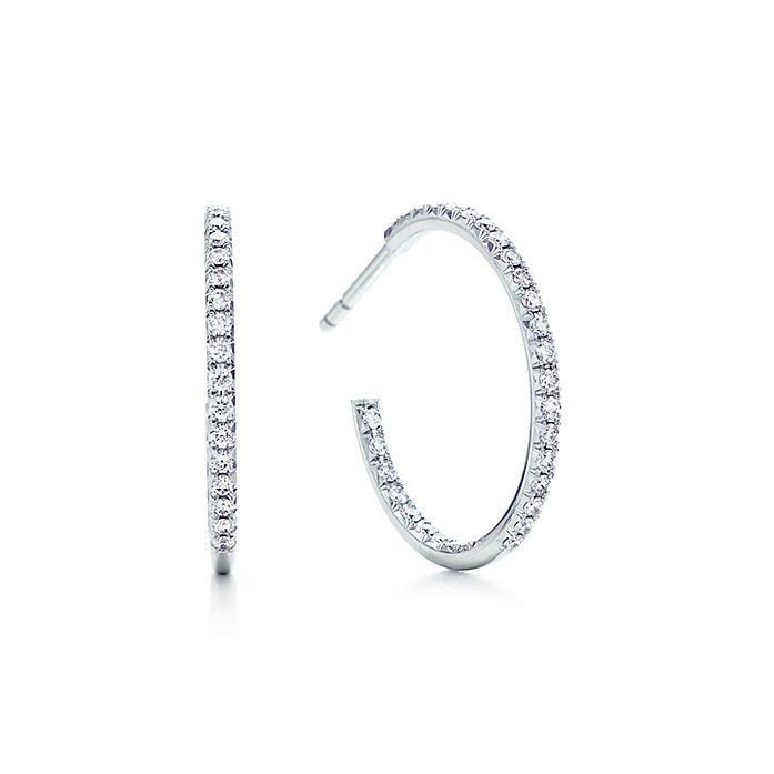 929545195 Tiffany Metro hoop earrings in 18k white gold with diamonds, medium ...