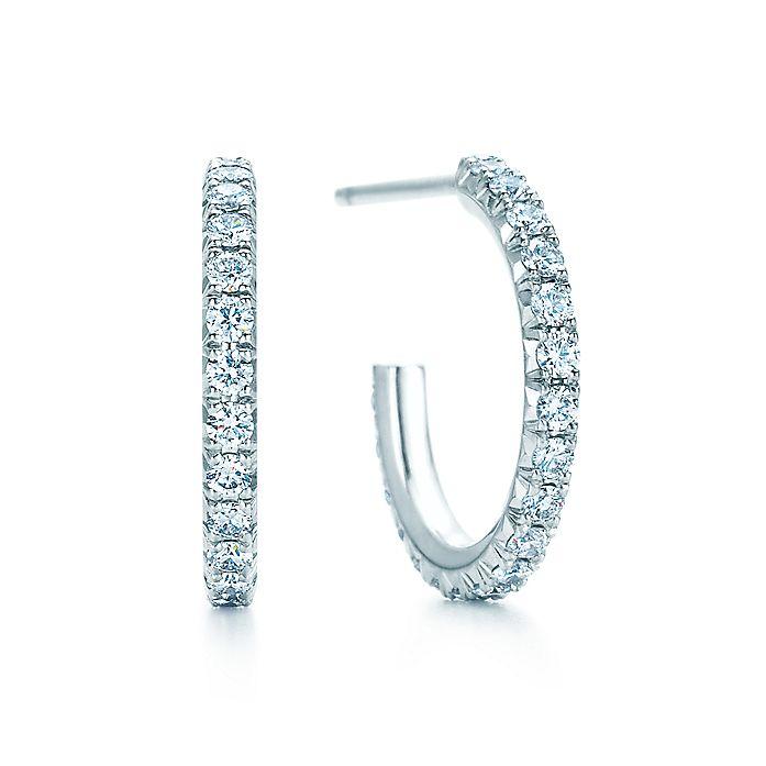 c020426aa Tiffany Metro hoop earrings in 18k white gold with diamonds, small ...