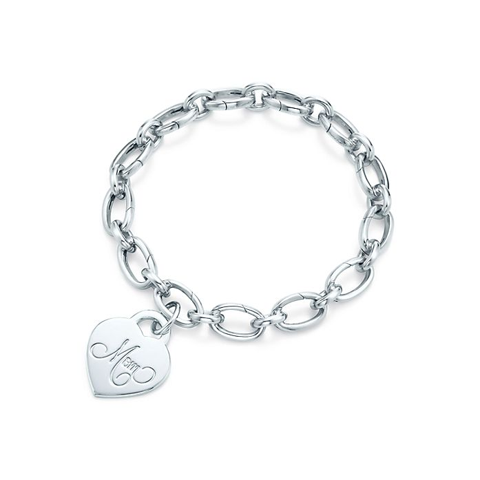 15c831a91a25 Mom heart tag charm in sterling silver on a link clasp bracelet ...