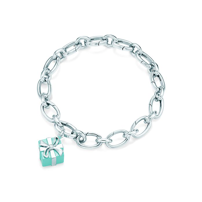 672a2dcd3 Tiffany Blue Box charm in sterling silver with enamel finish on a bracelet.  | Tiffany & Co.