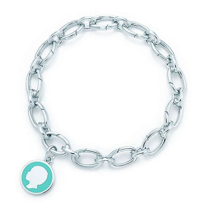 30ccc0dc2 Boy tag charm in silver with blue enamel finish on a clasping link bracelet.  | Tiffany & Co.