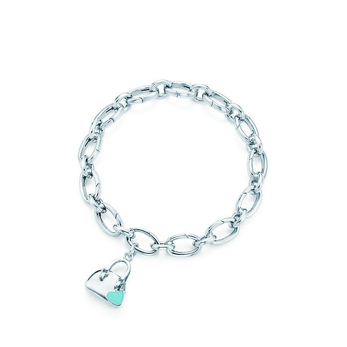 aa78c6004 Handbag charm with Tiffany Blue® enamel finish in sterling silver on a  bracelet. | Tiffany & Co.