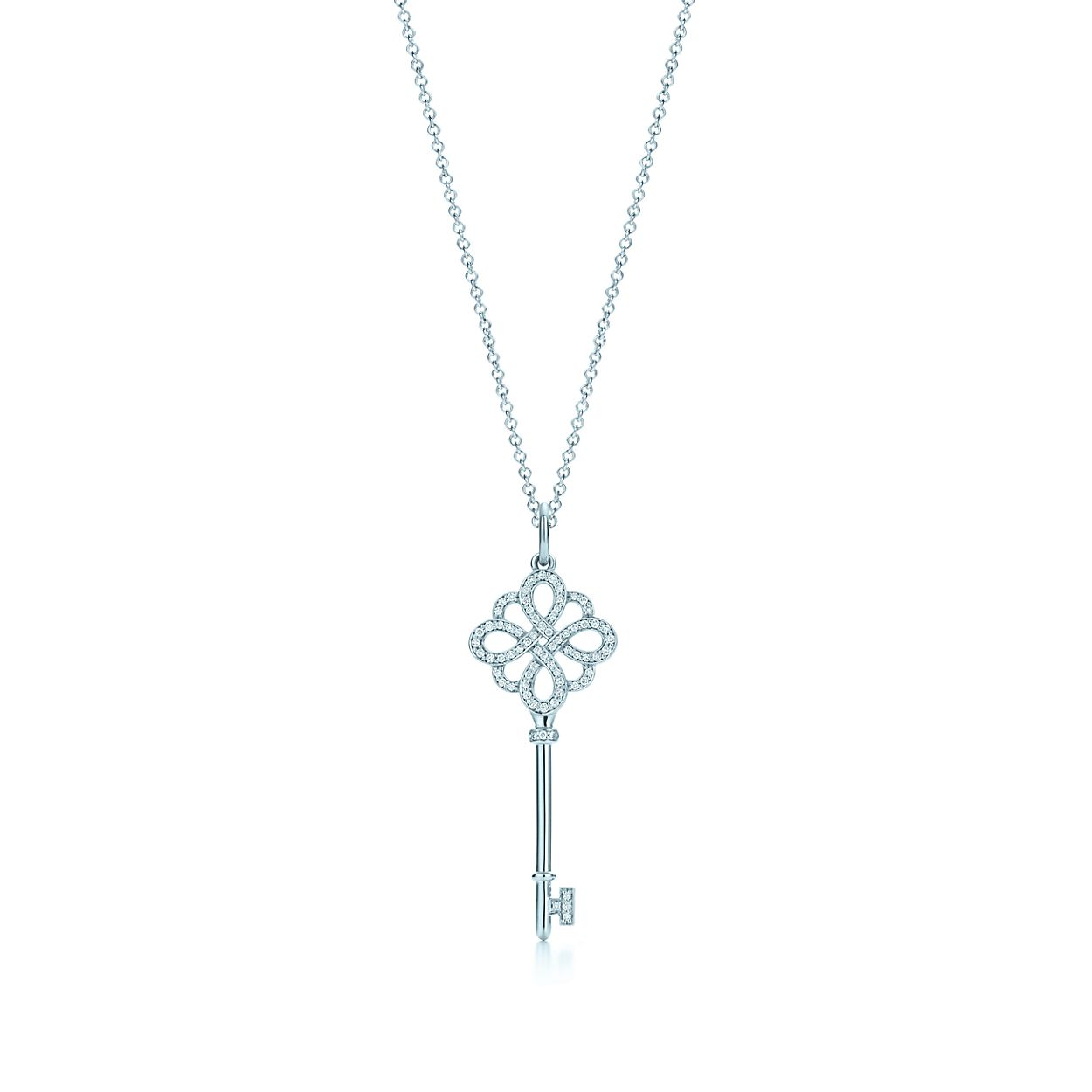Tiffany keys knot key pendant in 18k white gold with diamonds on a tiffany keysknot key pendant aloadofball