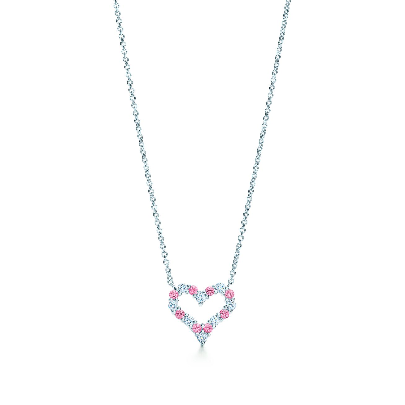 Heart pendant with pink sapphires and diamonds in platinum d312abdf0ca0