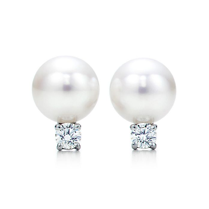ad97b03f3ea4f5 Tiffany Signature® Pearls earrings in 18k white gold with pearls and ...