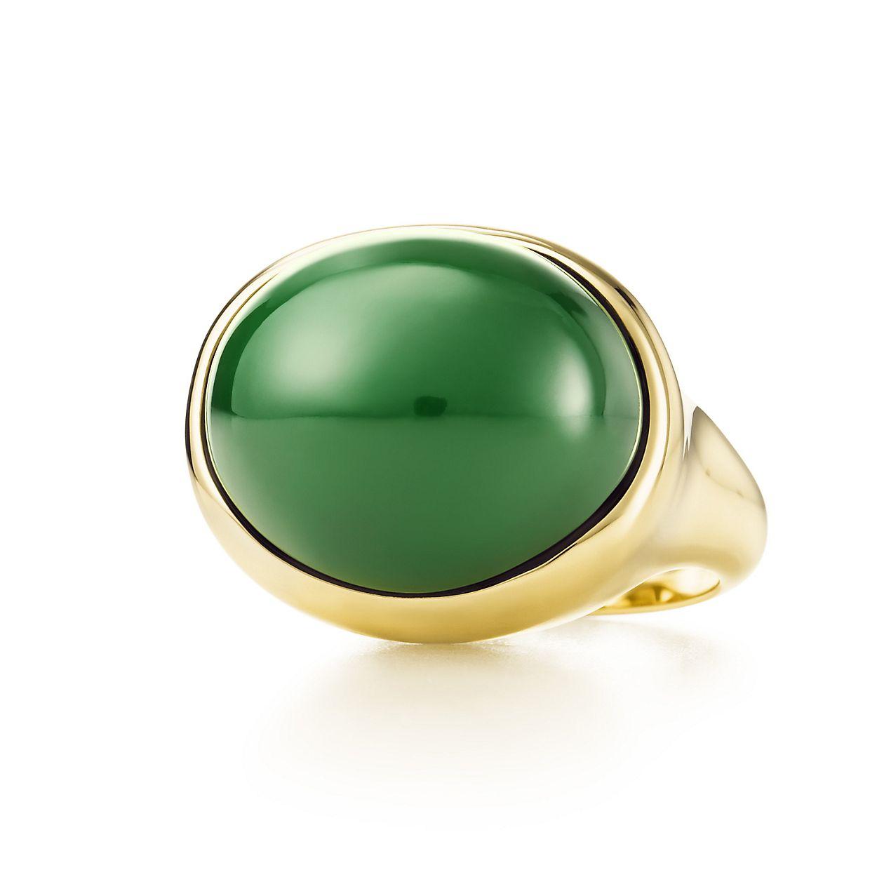 Elsa Peretti Cabochon earrings in 18k gold with green jade Tiffany & Co. 1tXELhSw