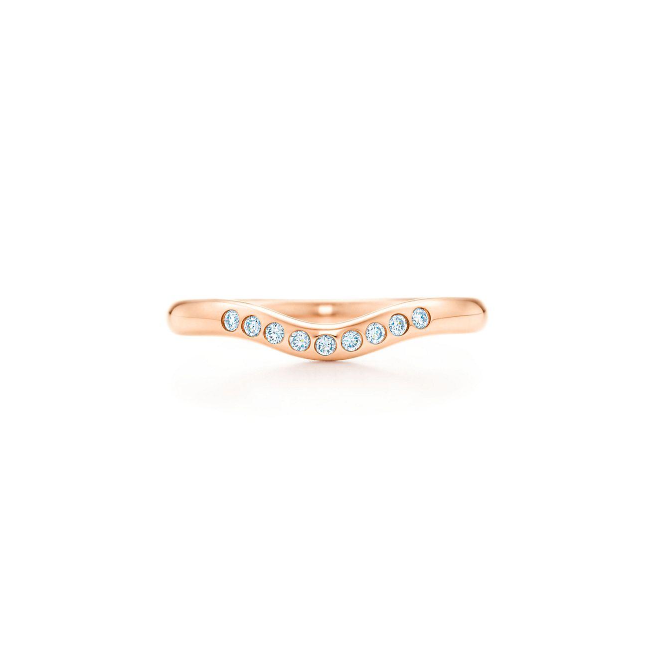 Elsa Peretti Anillo De Banda De La Boda Con Un Diamante En 18k De Oro Rosa, 2 Mm De Ancho - Tamaño 9 1/2 Tiffany & Co.