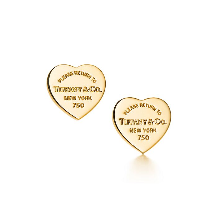 61ab81e8f Return to Tiffany® mini heart tag earrings in 18k gold. | Tiffany & Co.