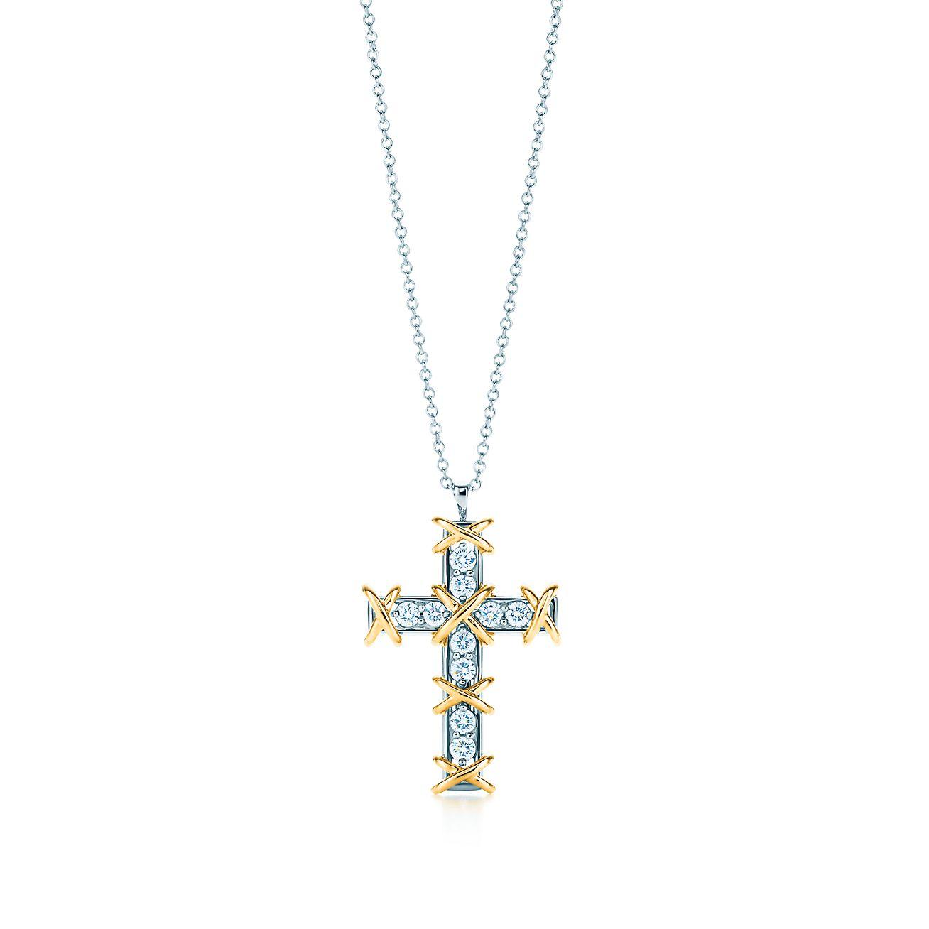 Tiffany Co Schlumberger Ten Stone Cross Pendant With Diamonds
