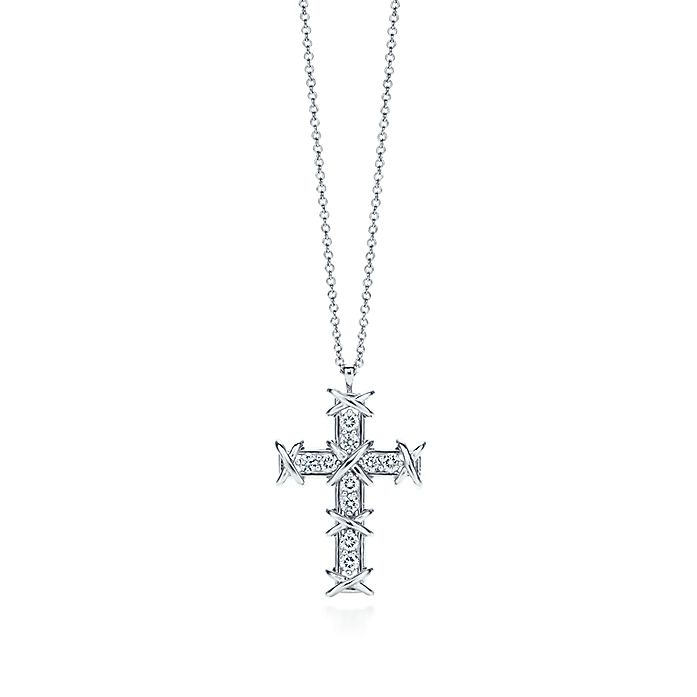 9970d24f6 Tiffany & Co. Schlumberger® Ten Stone cross pendant in platinum with ...