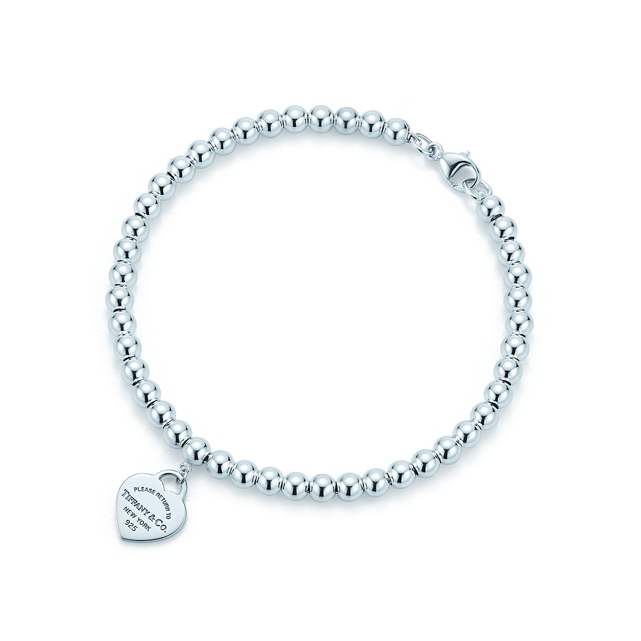 Return to Tiffany mini heart tag in sterling silver on a bead bracelet - Size 7 in Tiffany & Co.