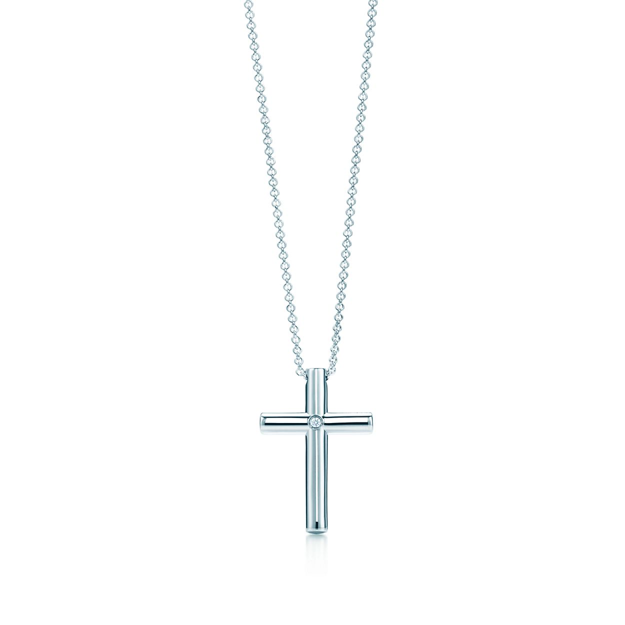 Cross pendant with a diamond in sterling silver large tiffany co cross pendant cross pendant mozeypictures Image collections