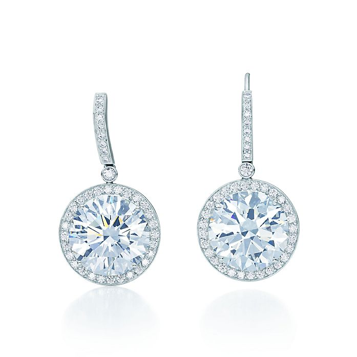 8b03362bf Earrings of round brilliant diamonds in platinum. | Tiffany & Co.