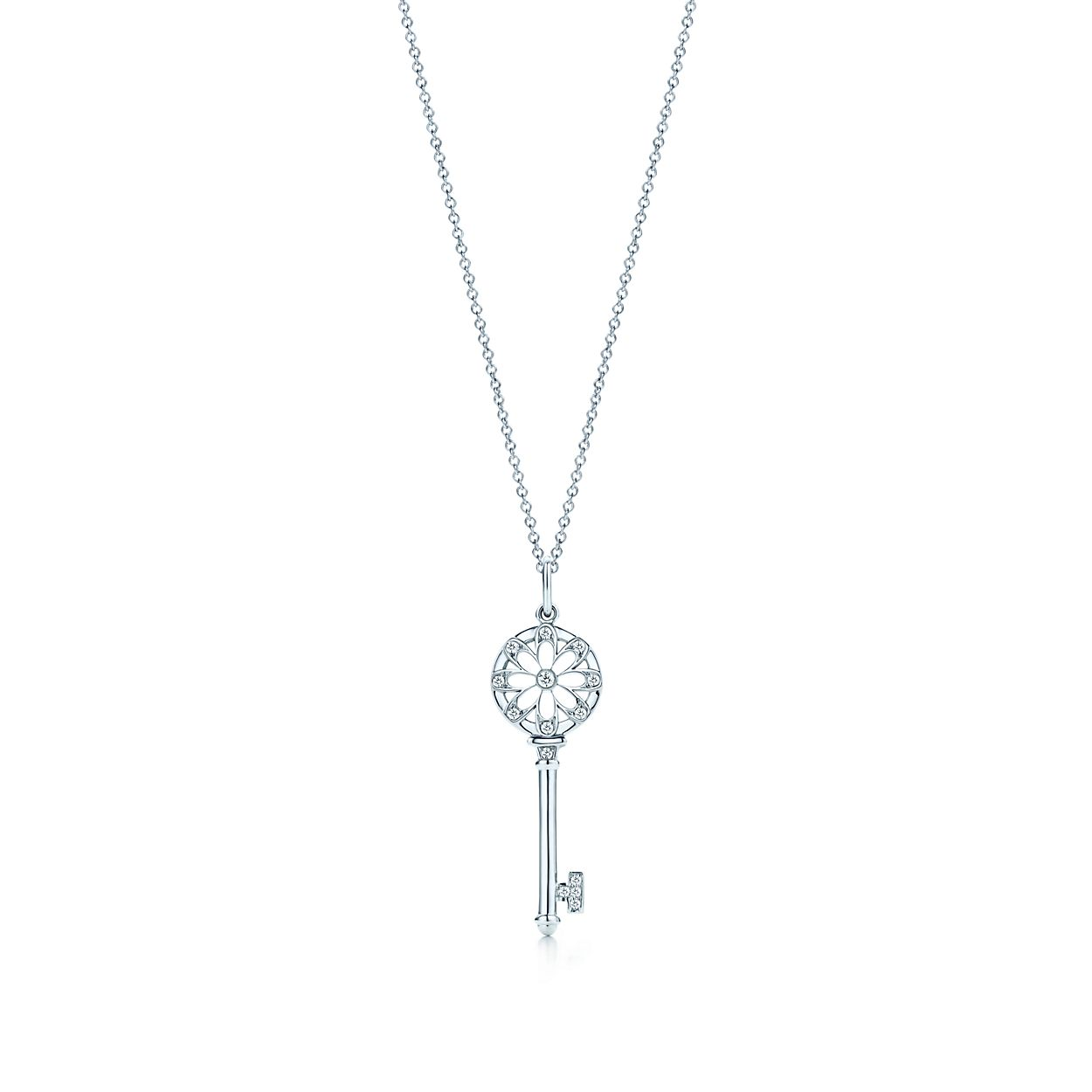Tiffany keys floral key pendant in 18k white gold with diamonds tiffany keysfloral key pendant aloadofball Images