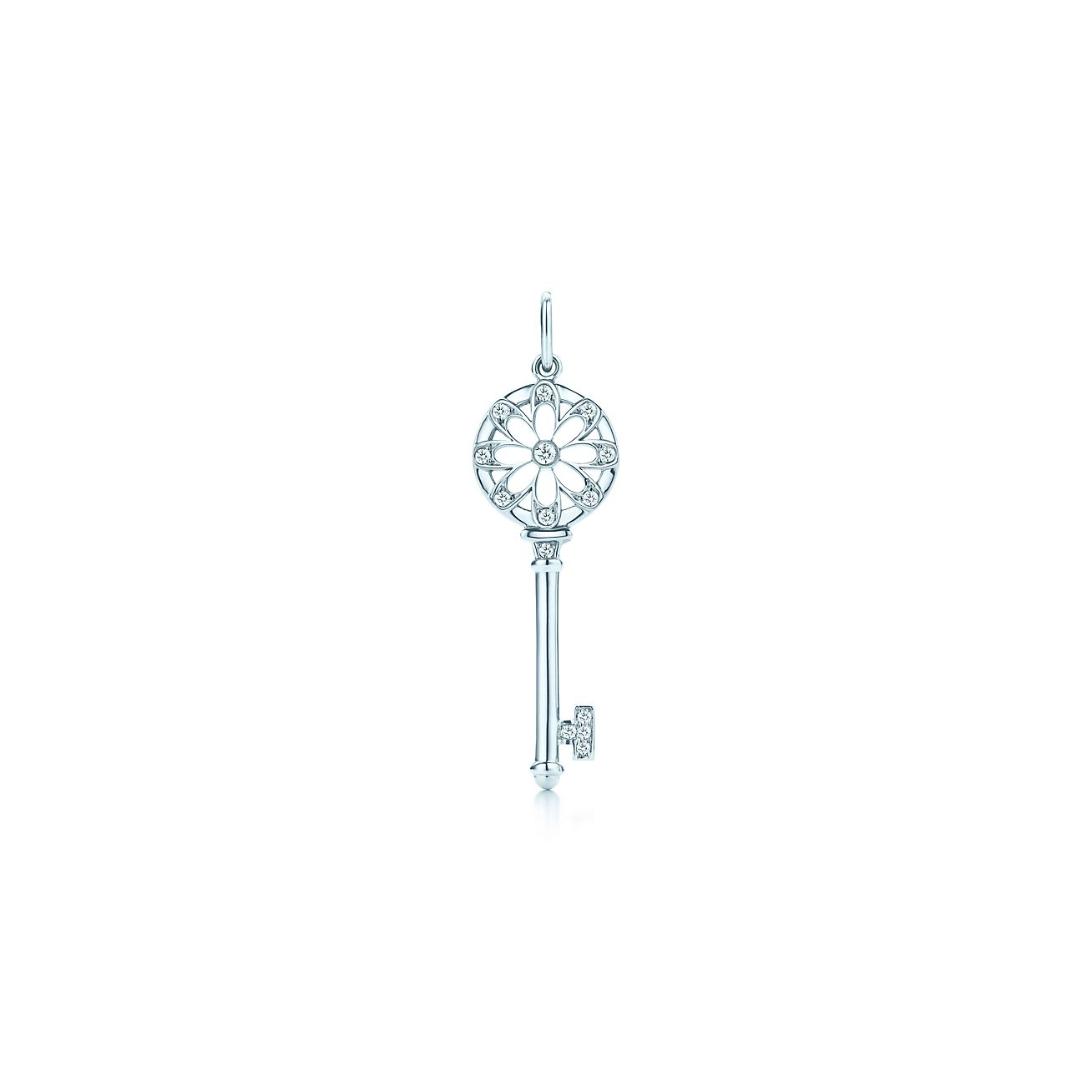Tiffany keys floral key pendant in 18k white gold with diamonds tiffany keysfloral key pendant aloadofball Image collections