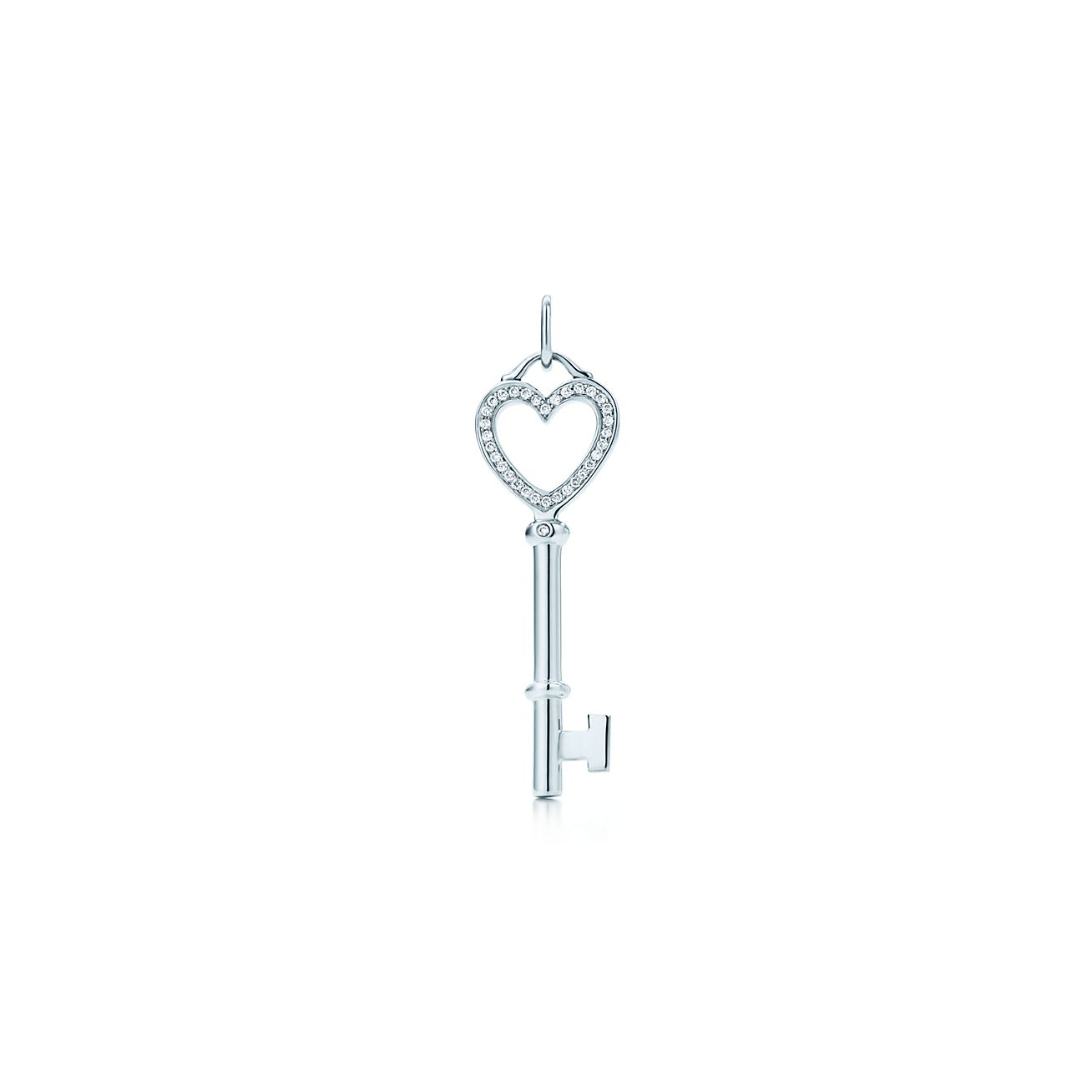 Tiffany keys heart key pendant in 18k white gold with diamonds tiffany keysheart key pendant aloadofball Image collections