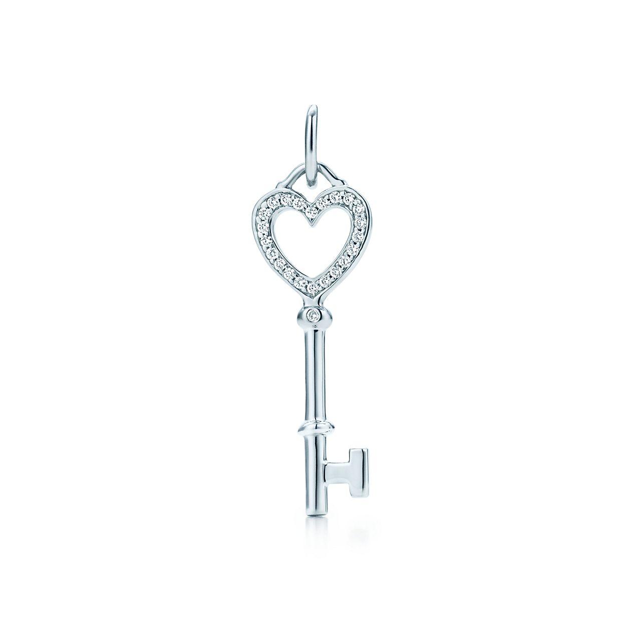 Tiffany Keys heart key pendant in 18k white gold with diamonds, mini Tiffany & Co.