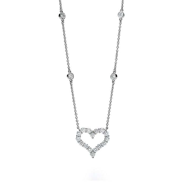 6c16a655d Tiffany Hearts™ necklace with diamonds in platinum. | Tiffany & Co.