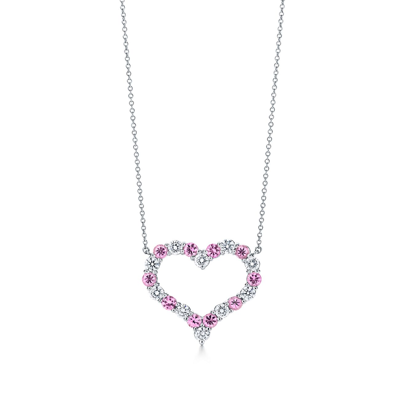 Pendant In Platinum With Pink Sapphires And Diamonds Large