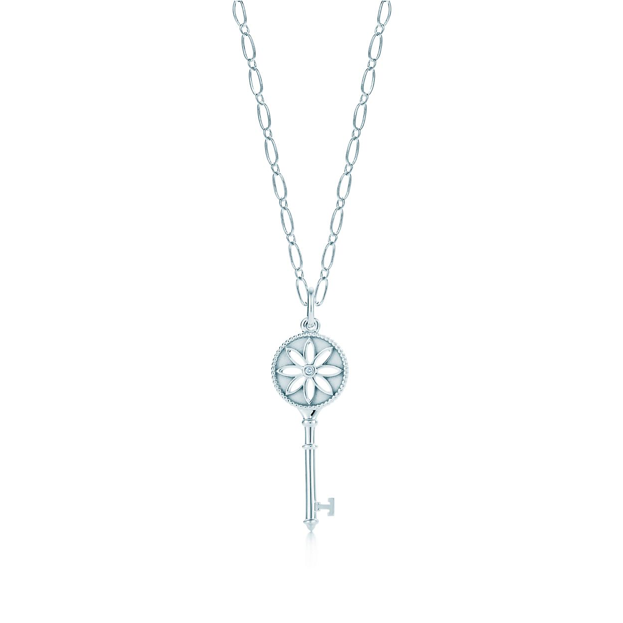Tiffany keys daisy key pendant in silver with a diamond on an oval tiffany keysdaisy key pendant tiffany keysdaisy key pendant aloadofball Gallery