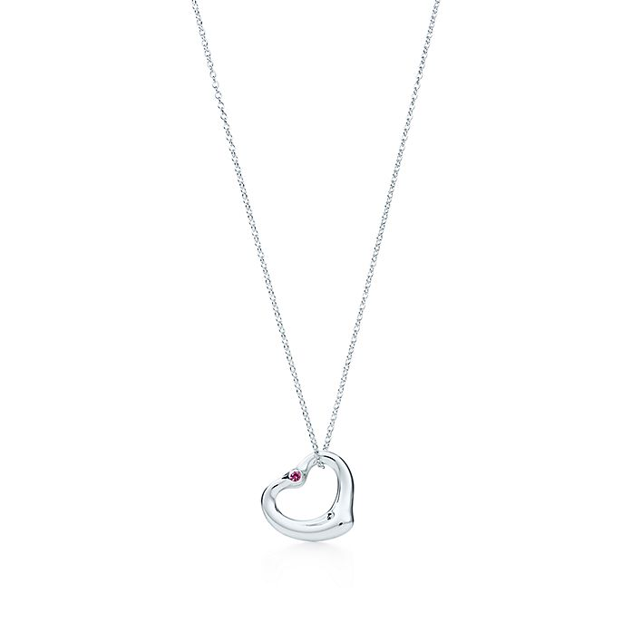 0c9bbe1dca2 Elsa Peretti® Open Heart pendant in sterling silver with a pink ...