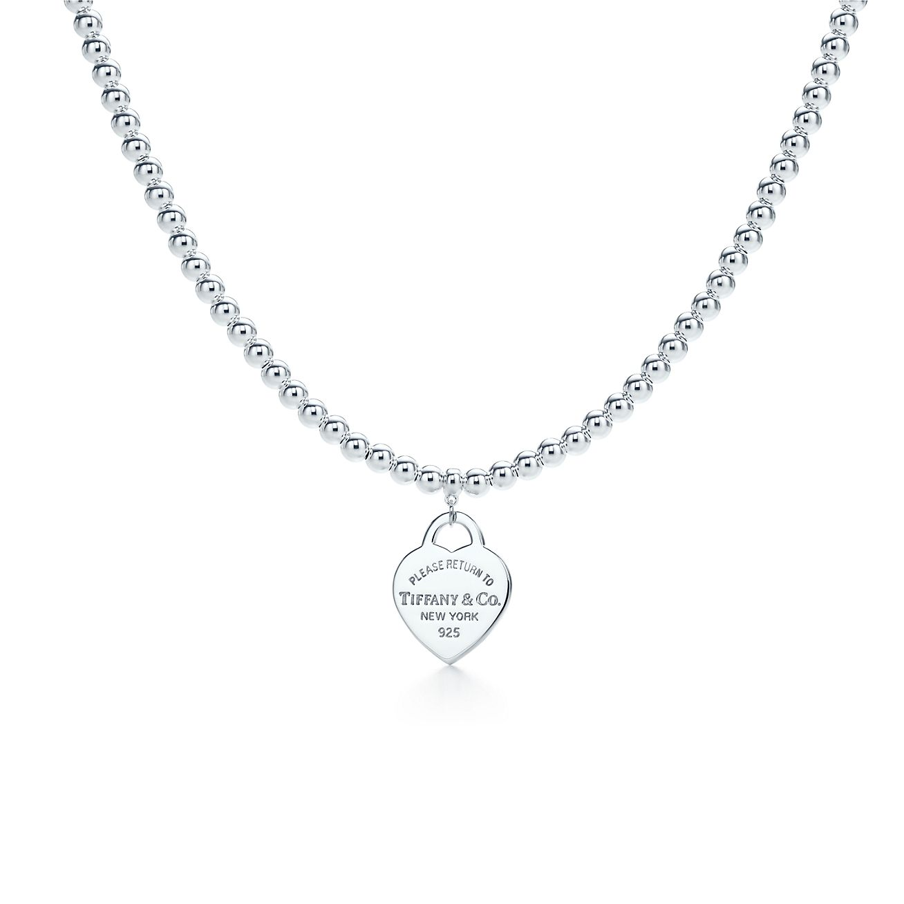 Return to Tiffany small heart tag in sterling silver on a bead necklace - Size 18 in Tiffany & Co.