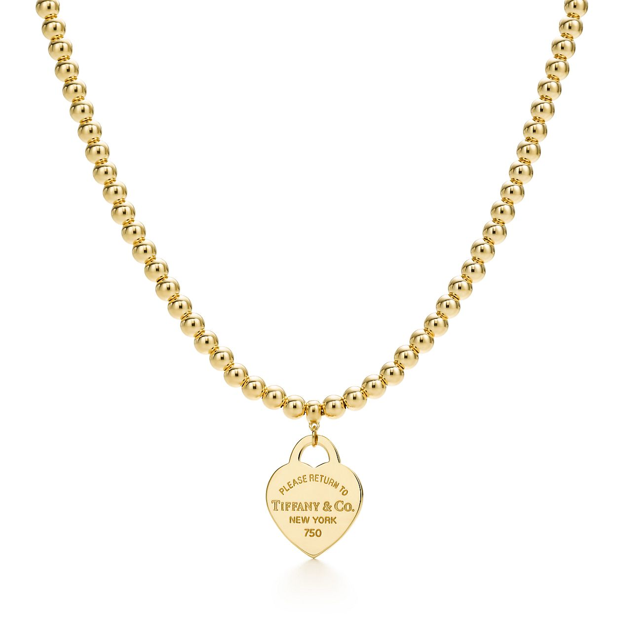 Return to tiffany small heart tag in 18k gold on a bead necklace return to tiffanybead necklace aloadofball Choice Image