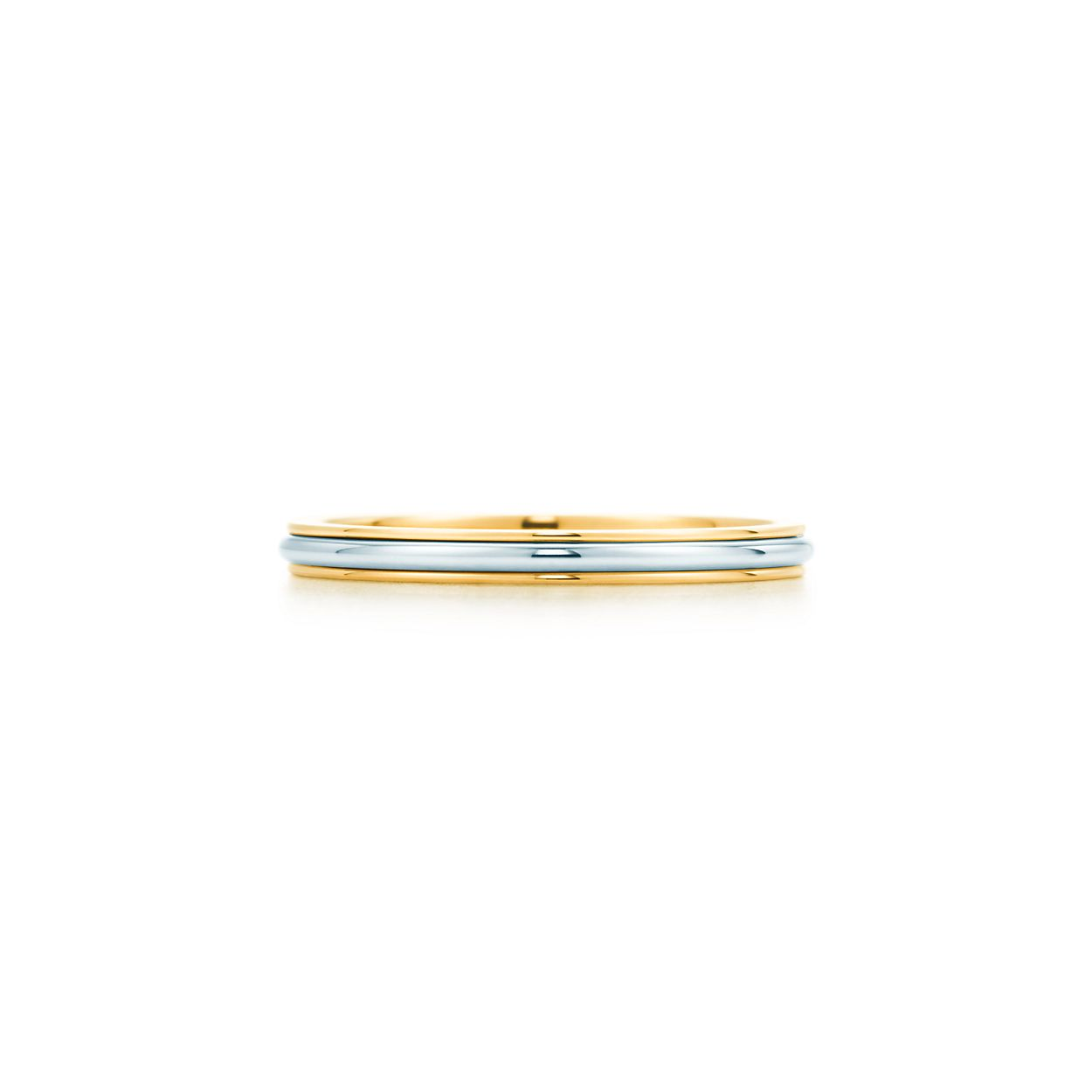Band ring with platinum in 18k gold, 2mm wide - Size 8 1/2 Tiffany & Co.