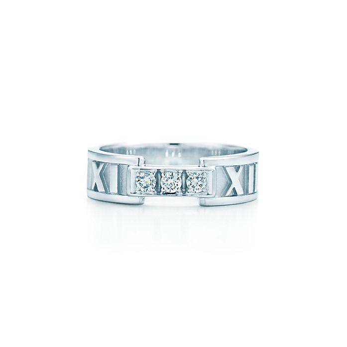 8bfd0c1aaa8 Atlas® ring in 18k white gold with diamonds.   Tiffany & Co.