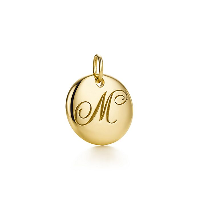 726622857 Tiffany Notes alphabet disc charm in 18k gold, small. Letters A-Z ...