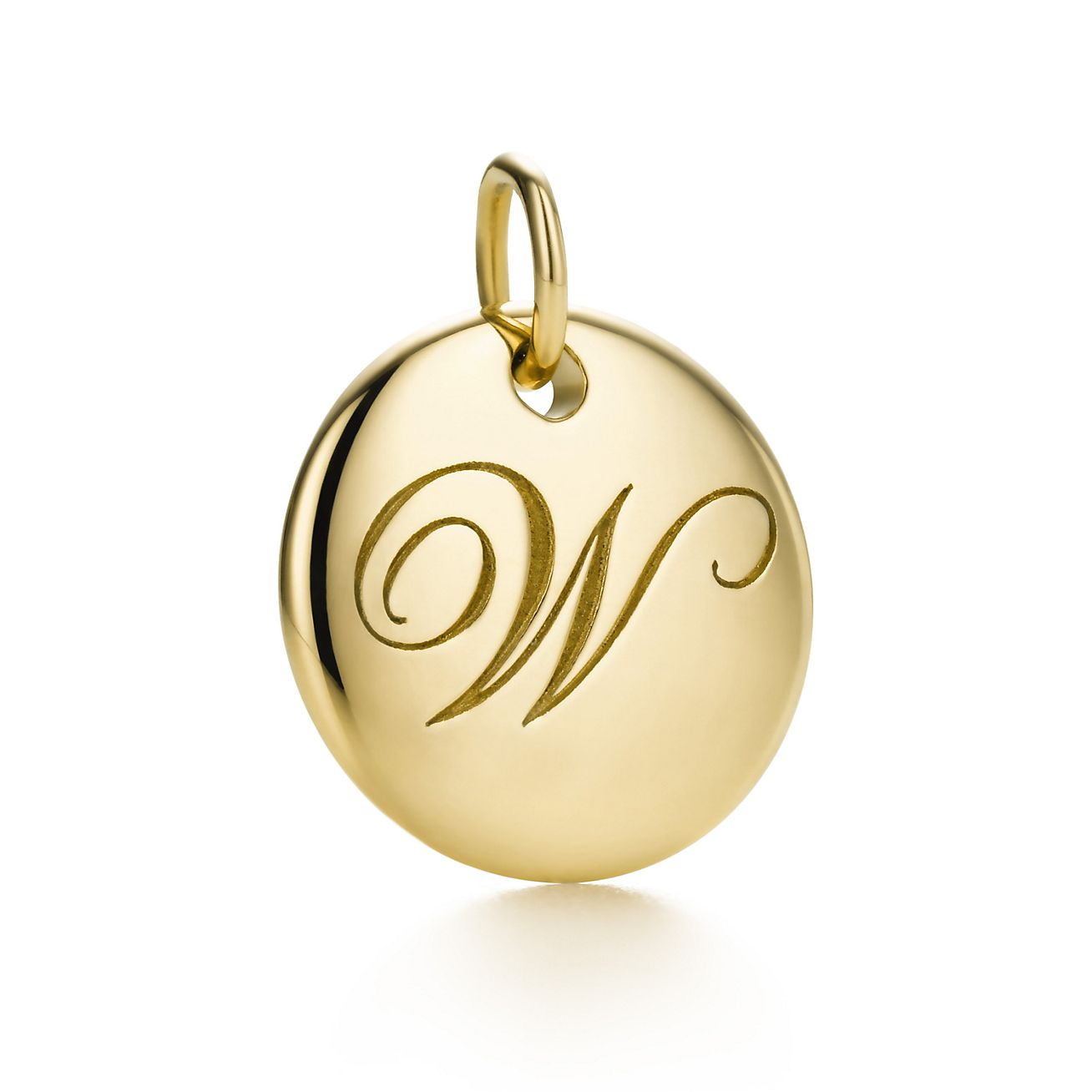 Tiffany Notes alphabet disc charm in 18k gold, small Letters A-Z available - Size W Tiffany & Co.